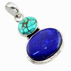 17.22cts natural blue lapis lazuli turquoise tibetan 925 silver pendant r32415