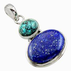 18.68cts natural blue lapis lazuli turquoise tibetan 925 silver pendant r32417