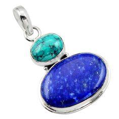 18.10cts natural blue lapis lazuli turquoise tibetan 925 silver pendant r32432
