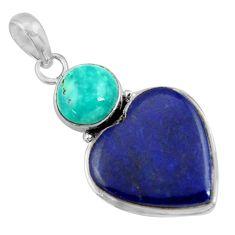 19.40cts natural blue lapis lazuli turquoise tibetan 925 silver pendant r36366