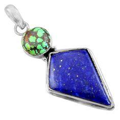 19.40cts natural blue lapis lazuli turquoise tibetan 925 silver pendant r36368