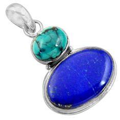 16.85cts natural blue lapis lazuli turquoise tibetan 925 silver pendant r36373