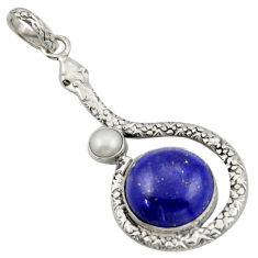 13.57cts natural blue lapis lazuli white pearl 925 silver snake pendant d47276