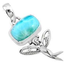 4.05cts natural blue larimar 925 silver angel wings fairy pendant r72365