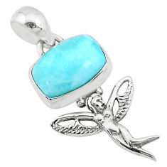 4.23cts natural blue larimar 925 silver angel wings fairy pendant r72366