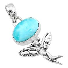 4.08cts natural blue larimar 925 silver angel wings fairy pendant r72368