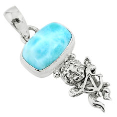 4.08cts natural blue larimar 925 silver angel wings fairy pendant r72371