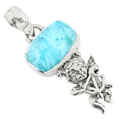 4.06cts natural blue larimar 925 silver angel wings fairy pendant r72374