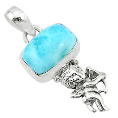 3.98cts natural blue larimar 925 silver angel wings fairy pendant r72375