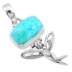 4.08cts natural blue larimar 925 silver angel wings fairy pendant r72386