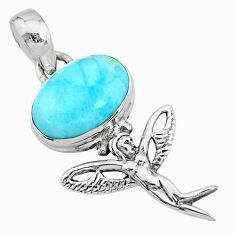 4.03cts natural blue larimar 925 silver angel wings fairy pendant r72390