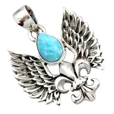 2.46cts natural blue larimar 925 silver feather charm pendant jewelry d44848