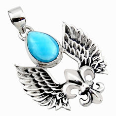 5.38cts natural blue larimar 925 silver feather charm pendant jewelry r52863