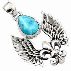 5.48cts natural blue larimar 925 silver feather charm pendant jewelry r52885