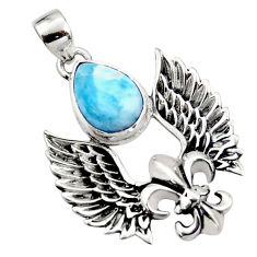 5.34cts natural blue larimar 925 silver feather charm pendant jewelry r52886