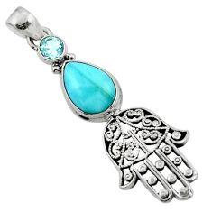 6.38cts natural blue larimar 925 silver hand of god hamsa pendant jewelry r52787
