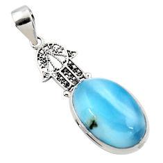 14.47cts natural blue larimar 925 silver hand of god hamsa pendant r50322