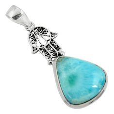 13.70cts natural blue larimar 925 silver hand of god hamsa pendant r50863