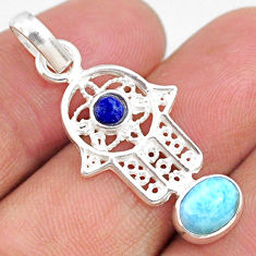 2.70cts natural blue larimar 925 silver hand of god hamsa pendant r67947