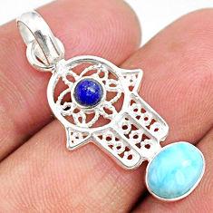 2.71cts natural blue larimar 925 silver hand of god hamsa pendant r67950