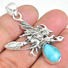 4.10cts natural blue larimar 925 silver pentacle witches broom pendant r90477