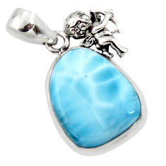 14.40cts natural blue larimar 925 sterling silver angel pendant jewelry r50329