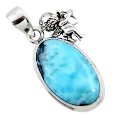 14.14cts natural blue larimar 925 sterling silver angel pendant jewelry r50330