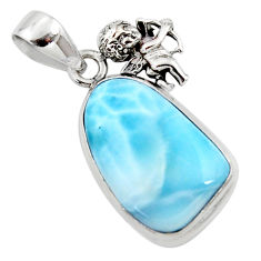 15.02cts natural blue larimar 925 sterling silver angel pendant jewelry r50340