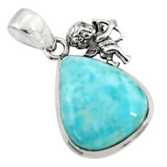 16.20cts natural blue larimar 925 sterling silver angel pendant jewelry r50866