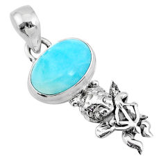 4.06cts natural blue larimar 925 sterling silver angel pendant jewelry r72355