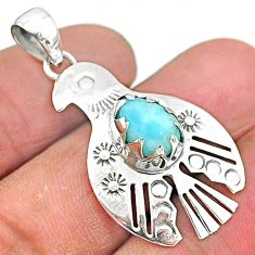 2.23cts natural blue larimar 925 sterling silver bird pendant jewelry t6402