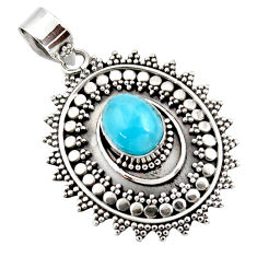 4.36cts natural blue larimar 925 sterling silver boho pendant jewelry r46961