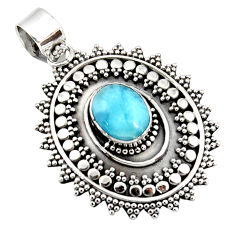 4.25cts natural blue larimar 925 sterling silver boho pendant jewelry r46963