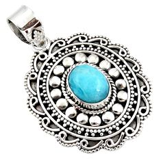 4.13cts natural blue larimar 925 sterling silver boho pendant jewelry r46964