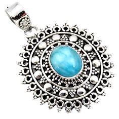 4.19cts natural blue larimar 925 sterling silver boho pendant jewelry r46968