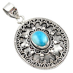 4.52cts natural blue larimar 925 sterling silver boho pendant jewelry r46971