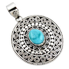 4.31cts natural blue larimar 925 sterling silver boho pendant jewelry r46972