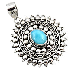 4.28cts natural blue larimar 925 sterling silver boho pendant jewelry r46974