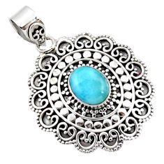 4.28cts natural blue larimar 925 sterling silver boho pendant jewelry r46978