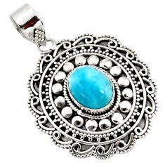 4.23cts natural blue larimar 925 sterling silver boho pendant jewelry r46980