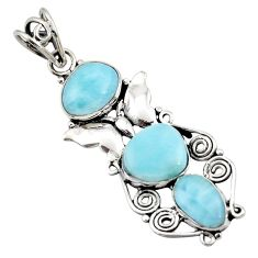 9.86cts natural blue larimar 925 sterling silver butterfly pendant d43753