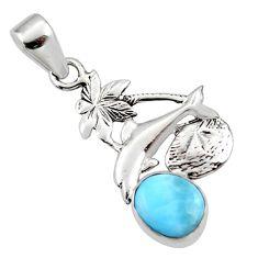 3.42cts natural blue larimar 925 sterling silver dolphin pendant jewelry r48321