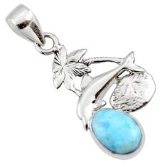 3.31cts natural blue larimar 925 sterling silver dolphin pendant jewelry r48330