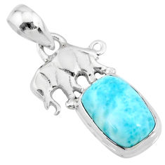 4.18cts natural blue larimar 925 sterling silver elephant pendant jewelry r72345