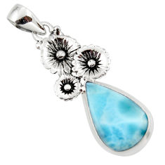13.06cts natural blue larimar 925 sterling silver flower pendant jewelry r43763