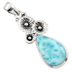 12.95cts natural blue larimar 925 sterling silver flower pendant jewelry r43766