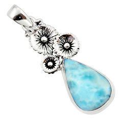 12.46cts natural blue larimar 925 sterling silver flower pendant jewelry r43767
