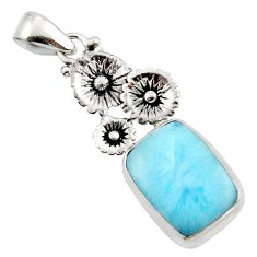 12.86cts natural blue larimar 925 sterling silver flower pendant jewelry r43777