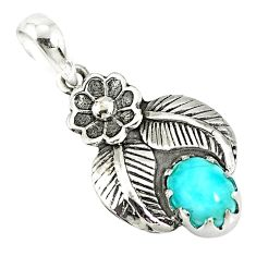 2.17cts natural blue larimar 925 sterling silver flower pendant jewelry r77754