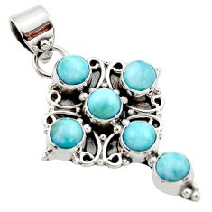 5.38cts natural blue larimar 925 sterling silver holy cross pendant r34981